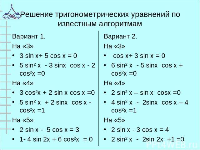 Решение тригонометрических уравнений по известным алгоритмам Вариант 1. На «3» 3 sin x+ 5 cos x = 0 5 sin2 х - 3 sinх cos х - 2 cos2х =0 На «4» 3 cos2х + 2 sin х cos х =0 5 sin2 х + 2 sinх cos х - cos2х =1 На «5» 2 sin x - 5 cos x = 3 1- 4 sin 2x + …