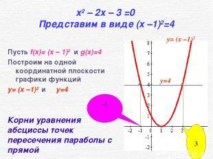 x2 – 2x – 3 =0 Представим в виде (x –1)2=4 Пусть f(x)= (x – 1)2 и g(x)=4 Построи