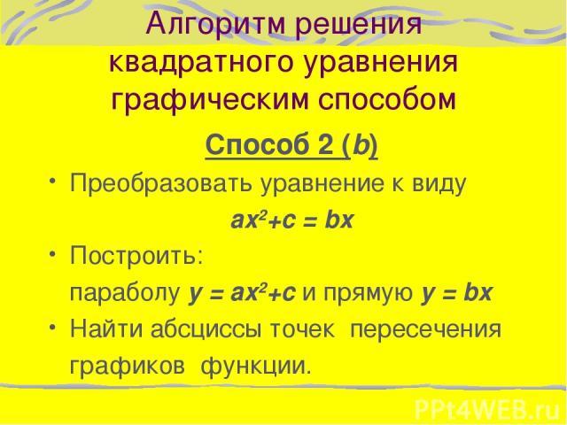 Алгоритм решения квадратного уравнения графическим способом Способ 2 (b) Преобразовать уравнение к виду ax2+с = bx Построить: параболу y = ax2+с и прямую y = bx Найти абсциссы точек пересечения графиков функции.