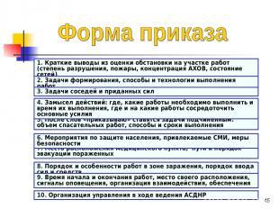 * 1. Краткие выводы из оценки обстановки на участке работ (степень разрушения, п