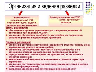 * Руководитель (председатель) КЧС определяет цель, задачи, силы и средства разве