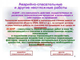 * АСДНР – это совокупность действий, осуществляемых по различным технологическим