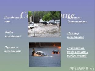 Содержание Наводнение это… Виды наводнений Причины наводнений Правила безопаснос