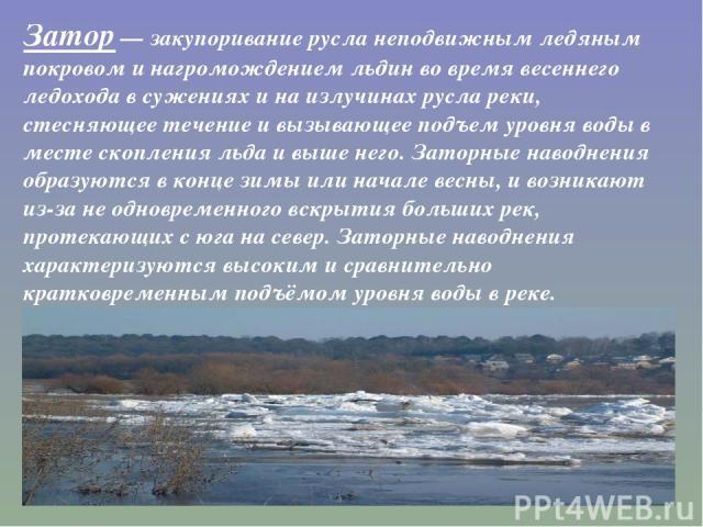 Затор— закупоривание русла неподвижным ледяным покровом и нагромождением льдин во время весеннего ледохода в сужениях и на излучинах русла реки, стесняющее течение и вызывающее подъем уровня воды в месте скопления льда и выше него. Заторные наводне…