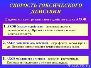 СКОРОСТЬ ТОКСИЧЕСКОГО ДЕЙСТВИЯ 1. АХОВ быстрого действия – синильная кислота, се