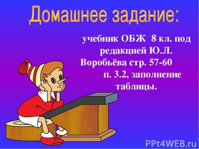 учебник ОБЖ 8 кл. под редакцией Ю.Л. Воробьёва стр. 57-60 п. 3.2, заполнение таблицы.