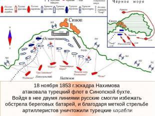 18 ноября 1853 г.эскадра Нахимова атаковала турецкий флот в Синопской бухте. Вой