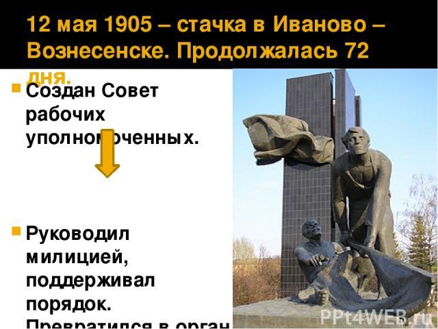 12 мая 1905 – стачка в Иваново – Вознесенске. Продолжалась 72 дня. Создан Совет рабочих уполномоченных. Руководил милицией, поддерживал порядок. Превратился в орган власти. Руководил Советом А. Ноздрин.