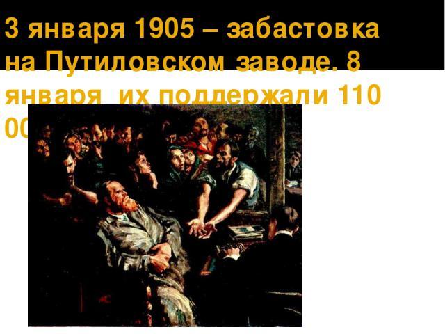3 января 1905 – забастовка на Путиловском заводе. 8 января их поддержали 110 000 человек.