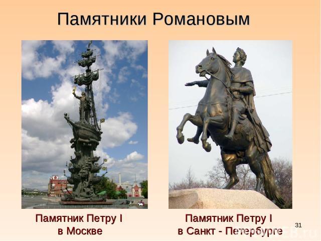 * ПамятникПетруI в Москве Памятники Романовым ПамятникПетруI в Санкт - Петербурге