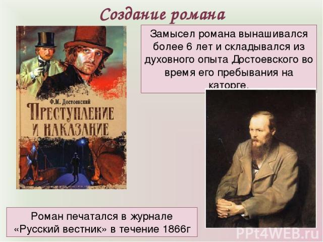 Замысел романа вынашивался более 6 лет и складывался из духовного опыта Достоевского во время его пребывания на каторге. Создание романа Роман печатался в журнале «Русский вестник» в течение 1866г