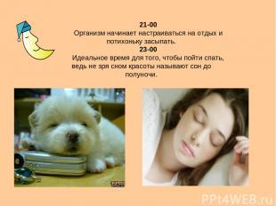 21-00 Организм начинает настраиваться на отдых и потихоньку засыпать. 23-00 Идеа