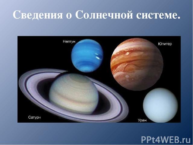 Сведения о Солнечной системе. Планеты – гиганты.