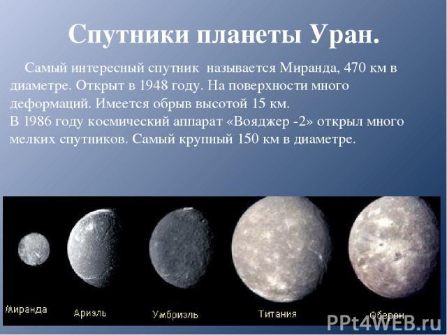 Спутники планеты Уран. Самый интересный спутник называется Миранда, 470 км в диаметре. Открыт в 1948 году. На поверхности много деформаций. Имеется обрыв высотой 15 км. В 1986 году космический аппарат «Вояджер -2» открыл много мелких спутников. Самы…