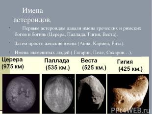 Имена астероидов. Первым астероидам давали имена греческих и римских богов и бог