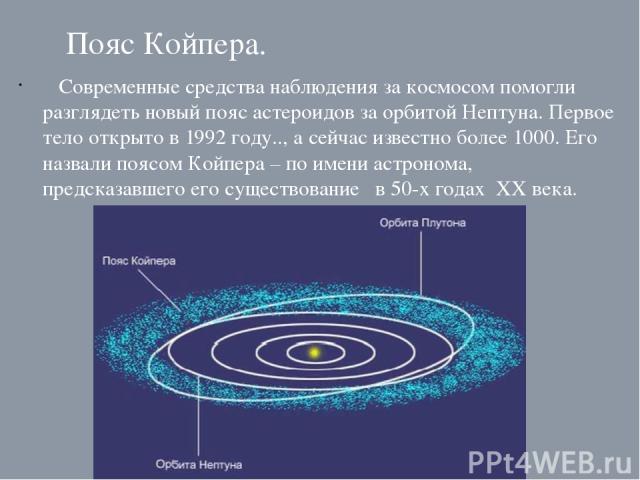 Пояс Койпера. Современные средства наблюдения за космосом помогли разглядеть новый пояс астероидов за орбитой Нептуна. Первое тело открыто в 1992 году.., а сейчас известно более 1000. Его назвали поясом Койпера – по имени астронома, предсказавшего е…
