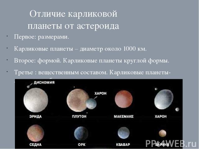 Отличие карликовой планеты от астероида Первое: размерами. Карликовые планеты – диаметр около 1000 км. Второе: формой. Карликовые планеты круглой формы. Третье : вещественным составом. Карликовые планеты- ледяные глыбы из замерзшего метана, воды и а…