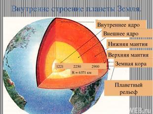Внутренне строение планеты Земля. Внутреннее ядро Внешнее ядро Нижняя мантия Вер