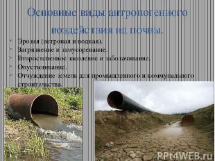 Основные виды антропогенного воздействия на почвы. Эрозия (ветровая и водная). З