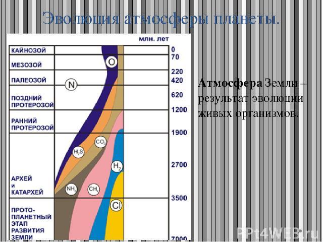 Эволюция атмосферы планеты. Атмосфера Земли – результат эволюции живых организмов.