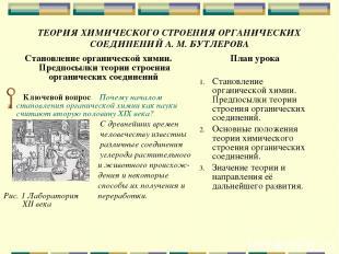 ТЕОРИЯ ХИМИЧЕСКОГО СТРОЕНИЯ ОРГАНИЧЕСКИХ СОЕДИНЕНИЙ А. М. БУТЛЕРОВА Становление