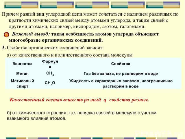 Причем разный вид углеродной цепи может сочетаться с наличием различных по кратности химических связей между атомами углерода, а также связей с другими атомами, например, кислородом, азотом, галогенами. Важный вывод: такая особенность атомов углерод…