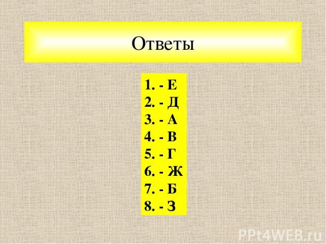 Ответы 1. - Е 2. - Д 3. - А 4. - В 5. - Г 6. - Ж 7. - Б 8. - З