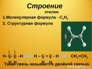 Строение этилен Молекулярная формула - С2Н4 2. Структурная формула Н- С- С –Н ил