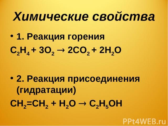 Химические свойства 1. Реакция горения С2Н4 + 3О2 2СО2 + 2Н2О 2. Реакция присоединения (гидратации) СН2=СН2 + Н2О С2Н5ОН
