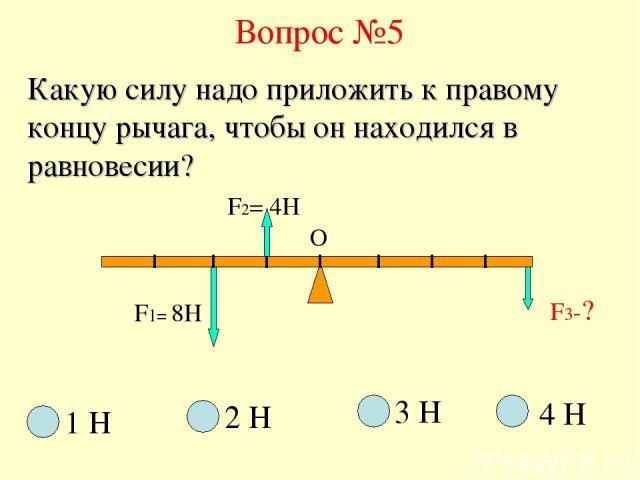 Вопрос №5 F1= 8H F3-? О Какую силу надо приложить к правому концу рычага, чтобы он находился в равновесии? F2= 4H 1 Н 2 Н 3 Н 4 Н