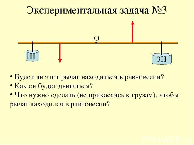 Экспериментальная задача №3 1Н 3Н О Будет ли этот рычаг находиться в равновесии? Как он будет двигаться? Что нужно сделать (не прикасаясь к грузам), чтобы рычаг находился в равновесии?