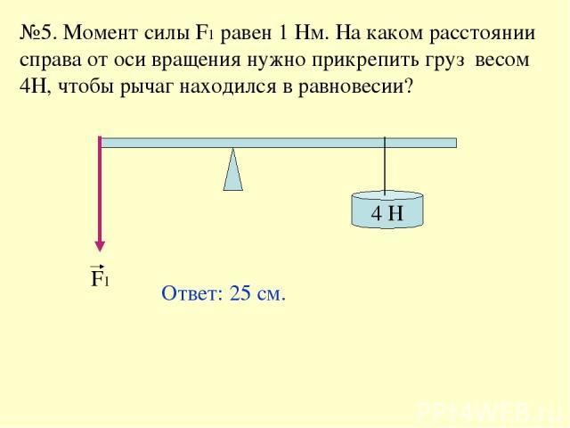 №5. Момент силы F1 равен 1 Нм. На каком расстоянии справа от оси вращения нужно прикрепить груз весом 4Н, чтобы рычаг находился в равновесии? 4 H F1 Ответ: 25 см.