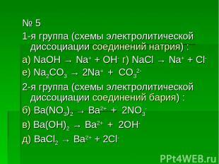 № 5 1-я группа (схемы электролитической диссоциации соединений натрия) : а) NaOH