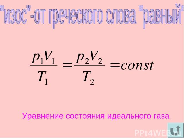Уравнение состояния идеального газа.