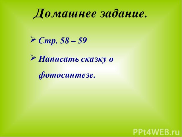 Домашнее задание. Стр. 58 – 59 Написать сказку о фотосинтезе.