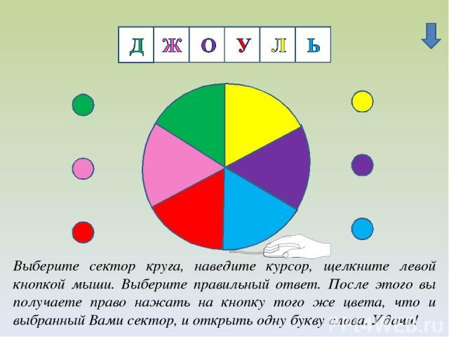 Ж Выберите сектор круга, наведите курсор, щелкните левой кнопкой мыши. Выберите правильный ответ. После этого вы получаете право нажать на кнопку того же цвета, что и выбранный Вами сектор, и открыть одну букву слова. Удачи!