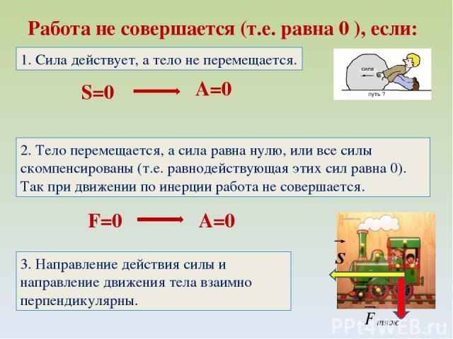 Работа не совершается (т.е. равна 0 ), если: S=0 A=0 1. Сила действует, а тело не перемещается. 2. Тело перемещается, а сила равна нулю, или все силы скомпенсированы (т.е. равнодействующая этих сил равна 0). Так при движении по инерции работа не сов…