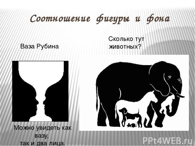 Соотношение фигуры и фона Можно увидеть как вазу, так и два лица. Ваза Рубина Сколько тут животных?
