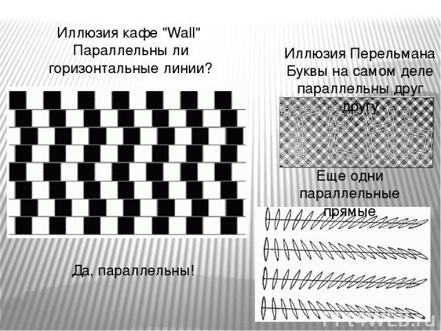 Иллюзия Перельмана Буквы на самом деле параллельны друг другу Еще одни параллельные прямые Иллюзия кафе