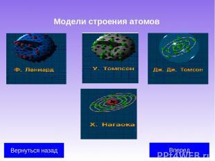 Модели строения атомов Вперед Вернуться назад