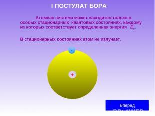 I ПОСТУЛАТ БОРА Атомная система может находится только в особых стационарных ква