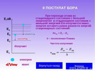 II ПОСТУЛАТ БОРА При переходе атома из стационарного состояния с большей энергие