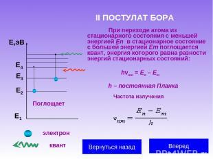 II ПОСТУЛАТ БОРА При переходе атома из стационарного состояния с меньшей энергие