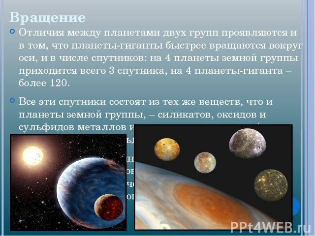 Вращение Отличия между планетами двух групп проявляются и в том, что планеты-гиганты быстрее вращаются вокруг оси, и в числе спутников: на 4 планеты земной группы приходится всего 3 спутника, на 4 планеты-гиганта – более 120. Все эти спутники состоя…