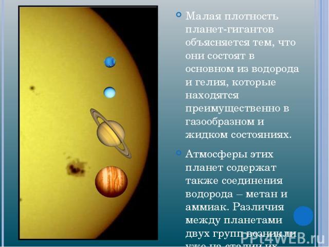 Малая плотность планет-гигантов объясняется тем, что они состоят в основном из водорода и гелия, которые находятся преимущественно в газообразном и жидком состояниях. Атмосферы этих планет содержат также соединения водорода – метан и аммиак. Различи…