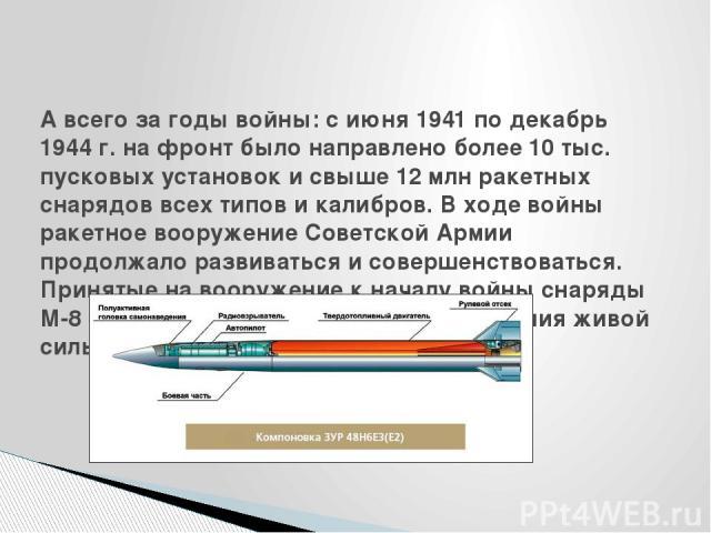 А всего за годы войны: с июня 1941 по декабрь 1944 г. на фронт было направлено более 10 тыс. пусковых установок и свыше 12 млн ракетных снарядов всех типов и калибров. В ходе войны ракетное вооружение Советской Армии продолжало развиваться и соверше…