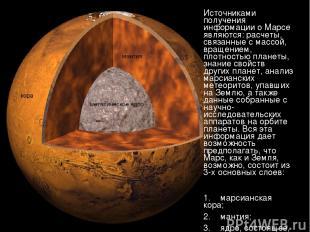 Источниками получения информации о Марсе являются: расчеты, связанные с массой,