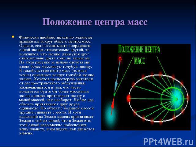Положение центра масс Физически двойные звезды по эллипсам вращаются вокруг общего центра масс. Однако, если отсчитывать координаты одной звезды относительно другой, то получится, что звезды движутся друг относительно друга тоже по эллипсам. На этом…