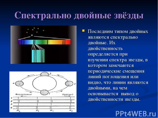 Спектрально двойные звёзды Последним типом двойных являются спектрально двойные. Их двойственность определяется при изучении спектра звезды, в котором замечаются периодические смещения линий поглощения или видно, что линии являются двойными, на чем …