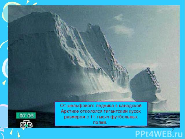 * От шельфового ледника в канадской Арктике откололся гигантский кусок размером с 11 тысяч футбольных полей.